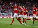 Aden Flint celebrates scoring during the Championship game between Middlesbrough and Sheffield United on August 7, 2018