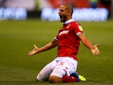 Adlene Guedioura celebrates scoring during the Championship game between Nottingham Forest and West Bromwich Albion on August 7, 2018