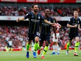 Bernardo Silva celebrates scoring during the Premier League game between Arsenal and Manchester City on August 12, 2018