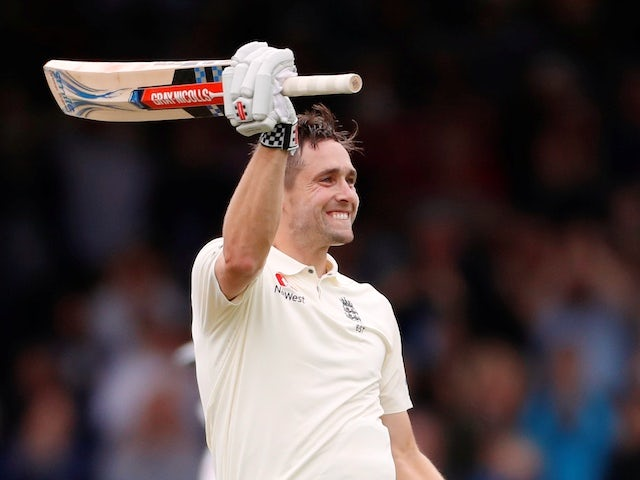 Chris Woakes celebrates his maiden Test century against India on August 11, 2018