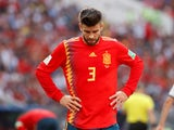 Spain defender Gerard Pique reacts during the 2018 World Cup