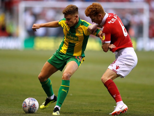 Harvey Barnes and Jack Colback in action during the Championship game between Nottingham Forest and West Bromwich Albion on August 7, 2018