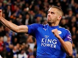 Islam Slimani in action for Leicester City in the EFL Cup on October 24, 2017