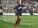 Leeds' Kemar Roofe celebrates scoring their second goal during their Championship clash with Derby County on August 11, 2018