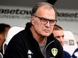 Leeds United manager Marcelo Bielsa watches on during his side's Championship clash with Derby County on August 11, 2018