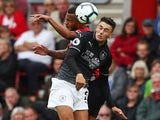 Matthew Lowton makes a header during the Premier League game between Southampton and Burnley on August 12, 2018