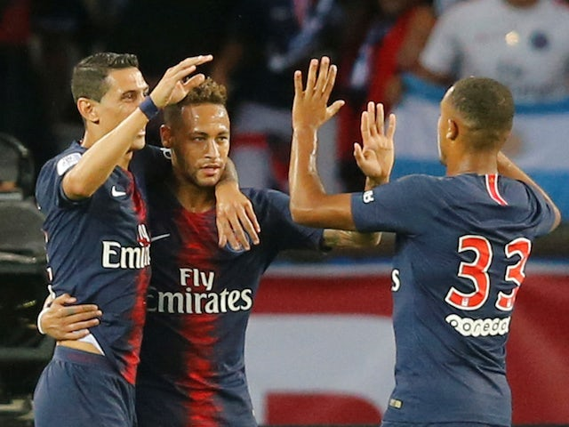 Neymar celebrates scoring the opener during the Ligue 1 game between Paris Saint-Germain and Caen on August 12, 2018