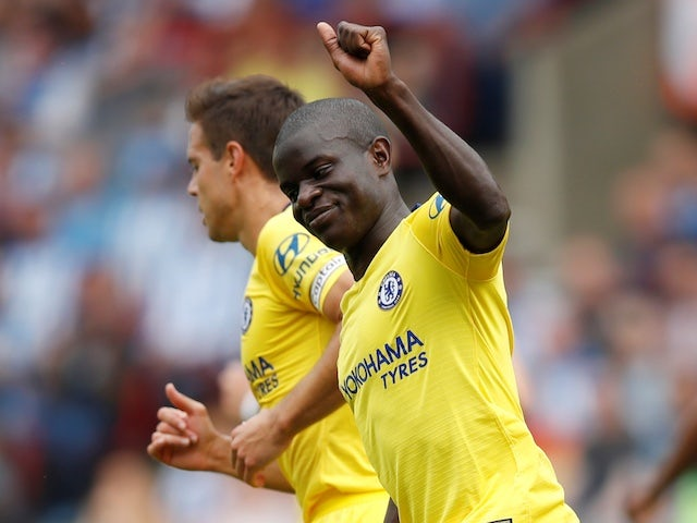 Chelsea midfielder N'Golo Kante celebrates scoring the opening goal of his side's Premier League clash with Huddersfield Town on August 11, 2018