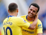 Chelsea attacker Pedro celebrates with Eden Hazard after scoring during his side's Premier League clash with Huddersfield on August 11, 2018