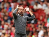 Pep Guardiola pulls a ridiculous face during the Premier League game between Arsenal and Manchester City on August 12, 2018