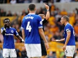 Everton defender Phil Jagielka sees red during his side's Premier League clash with Wolverhampton Wanderers in August 11, 2018