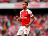 Pierre-Emerick Aubameyang in action during the Premier League game between Arsenal and Manchester City on August 12, 2018