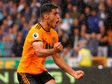 Wolverhampton Wanderers striker Raul Jimenez celebrates equalising during his side's Premier League clash with Everton on August 11, 2018