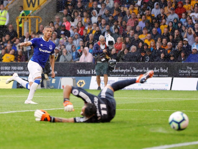 Everton winger Richarlison in action during his side's Premier League clash with Wolverhampton Wanderers in August 11, 2018