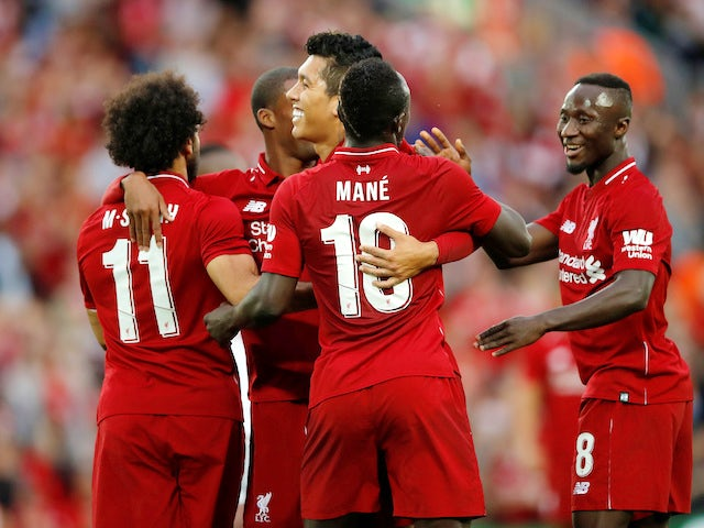 Roberto Firmino celebrates scoring during the pre-season friendly between Liverpool and Torino on August 7, 2018