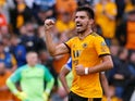 Ruben Neves celebrates scoring a free kick for Wolverhampton Wanderers on August 11, 2018