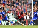 Bournemouth midfielder Ryan Fraser scores the opening goal of his side's Premier League clash with Cardiff on August 11, 2018