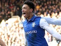 Sean Clare celebrates scoring for Sheffield Wednesday on February 24, 2018