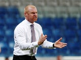 Sean Dyche barks orders during the Europa League quarter-final game between Istanbul Basaksehir and Burnley on August 9, 2018