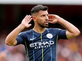 Sergio Aguero in action during the Premier League game between Arsenal and Manchester City on August 12, 2018
