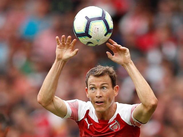 Stephan Lichtsteiner in action during the Premier League game between Arsenal and Manchester City on August 12, 2018