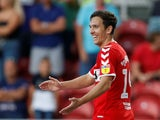 Stewart Downing celebrates making it three during the Championship game between Middlesbrough and Sheffield United on August 7, 2018