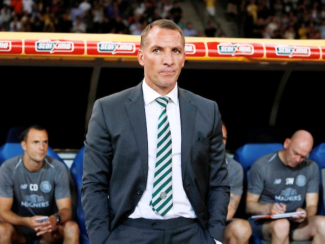 Brendan Rodgers watches on during the Champions League qualifying game between AEK Athens and Celtic on August 14, 2018