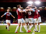 Burnley midfielder Jack Cork celebrates with teammates after scoring during his side's Europa League qualifier with Istanbul Basaksehir on August 16, 2018