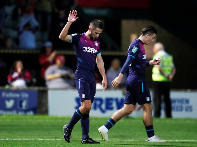 Aston Villa midfielder Conor Hourihane celebrates scoring against Yeovil Town in the EFl Cup first round on August 14, 2018