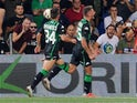 Sassuolo striker Domenico Berardi celebrates scoring in the Serie A clash with Inter Milan on August 19, 2018