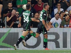 Sassuolo striker Domenico Berardi celebrates scoring in the Serie A clash with Inter Milan on August 19, 2018