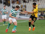 Jack Hendry and Viktor Klonaridis in action during the Champions League qualifying game between AEK Athens and Celtic on August 14, 2018