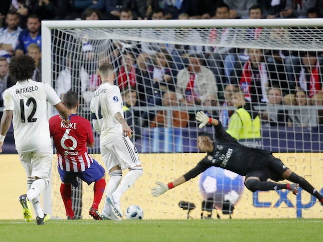 Koke scores Atletico Madrid's fourth goal in their UEFA Super Cup victory over Real Madrid on August 15, 2018