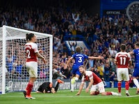 Marcos Alonso celebrates scoring Chelsea's late winner against Arsenal on August 18, 2018