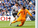 Cardiff City's Neil Etheridge makes a save from Newcastle United's Ayoze Perez on August 18, 2018