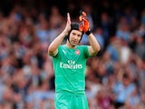 Arsenal goalkeeper Petr Cech claps supporters after his side's Premier League defeat to Manchester City on August 12, 2018