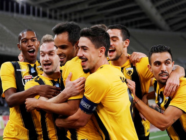 Rodrigo Galo celebrates giving the home side the lead during the Champions League qualifying game between AEK Athens and Celtic on August 14, 2018