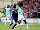 Sessi D'Almeida envelops Jake Doyle-Hayes during the EFL Cup first-round game between Yeovil Town and Aston Villa on August 14, 2018