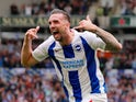Shane Duffy celebrates scoring Brighton & Hove Albion's second goal against Manchester United on August 19, 2018