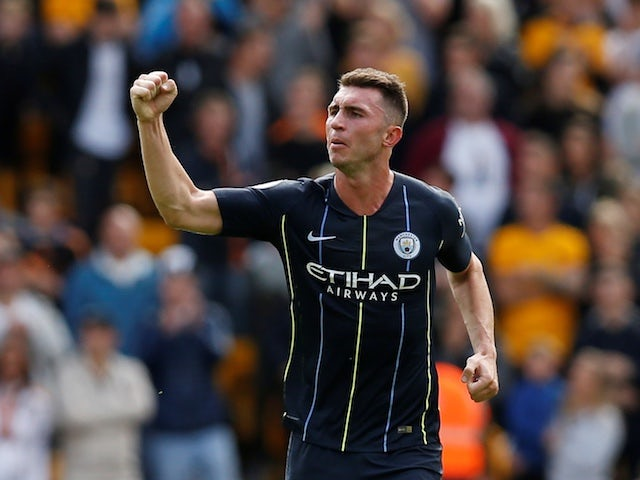 Manchester City defender Aymeric Laporte celebrates scoring the equaliser during his side's Premier League clash with Wolverhampton Wanderers on August 25, 2018