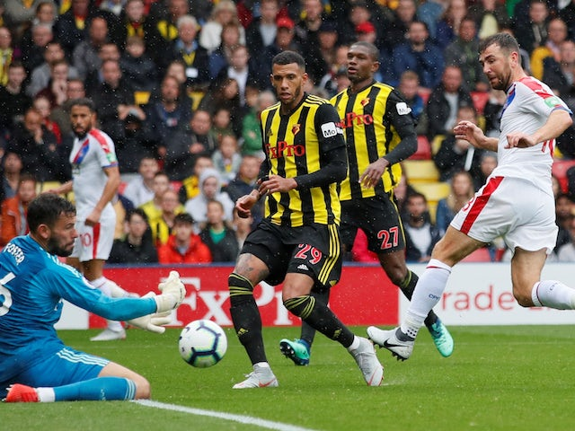 Ben Foster saves James McArthur's shot during the Premier League game between Watford and Crystal Palace on August 26, 2018