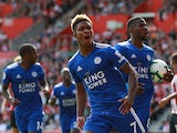 Demarai Gray celebrates scoring for Leicester against Southampton on August 25, 2018