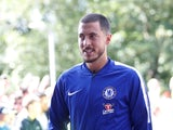 Chelsea's Eden Hazard arrives for their game with Huddersfield Town on August 11, 2018