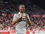Real Madrid forward Gareth Bale celebrates scoring during his side's La Liga clash with Girona on August 26, 2018