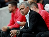Manchester United manager Jose Mourinho looks unimpressed during his side's Premier League clash with Brighton on August 19, 2018