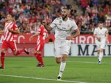 Real Madrid forward Karim Benzema celebrates scoring during his side's La Liga clash with Girona on August 26, 2018