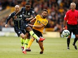 Manchester City attacker Raheem Sterling goes for goal during his side's Premier League clash with Wolverhampton Wanderers on August 25, 2018