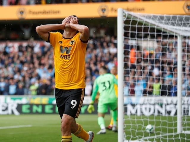 Wolverhampton Wanderers striker Raul Jimenez reacts to a disallowed goal during his side's Premier League clash with Manchester City on August 25, 2018