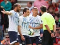 Everton players react after seeing Richarlison sent off during their Premier League clash with Bournemouth on August 25, 2018