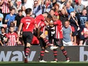 Southampton defender Ryan Bertrand celebrates scoring the opening goal during their Premier League clash with Leicester on August 25, 2018